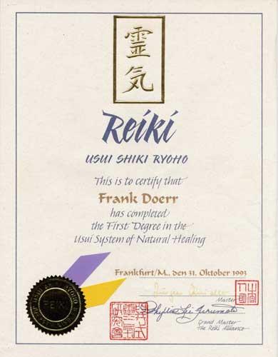 Reiki 1 Urkunde
