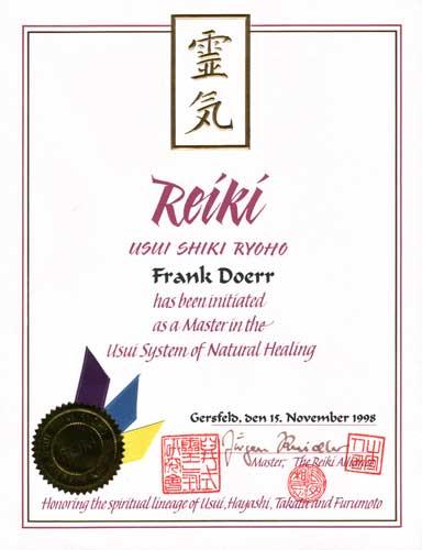 Reiki Meister Urkunde