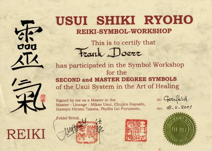 Reiki Symbole Workshop Urkunde