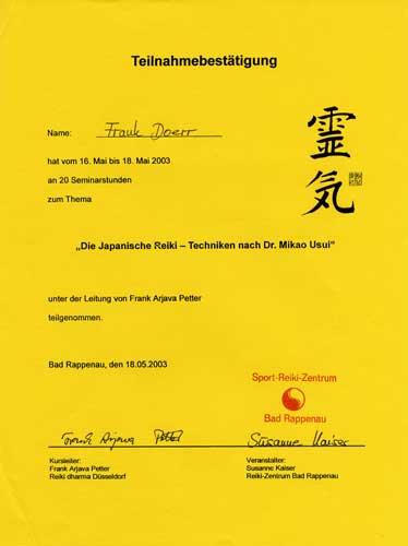 Japanische Reiki-Techniken Urkunde